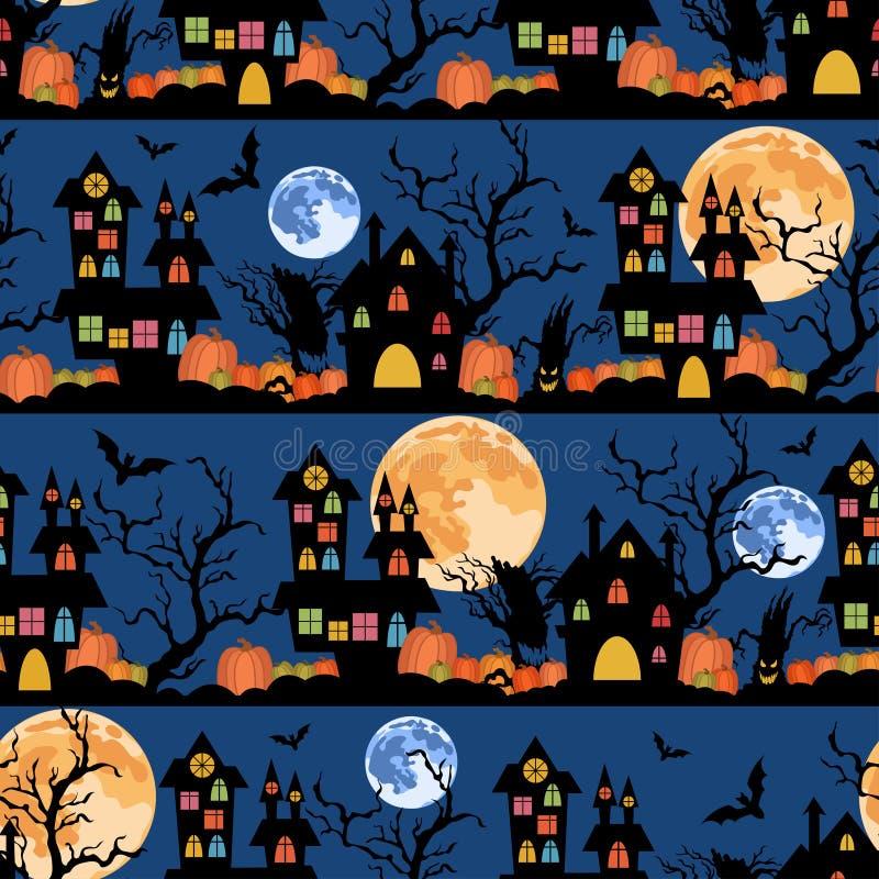 Halloweenowy kolorowy bezszwowy wzór z księżyc, kasztelami, baniami i drzewami, Tło dla wakacyjnego przyjęcia obraz royalty free