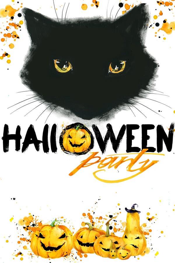 Halloweenowy kota plakat dla wakacje z symbolami wakacje royalty ilustracja