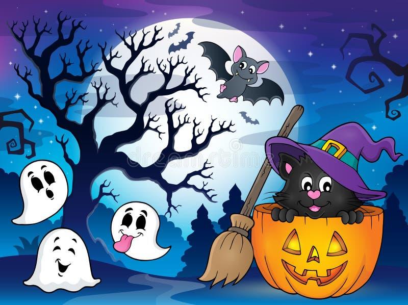 Halloweenowy kota tematu wizerunek 4 ilustracji