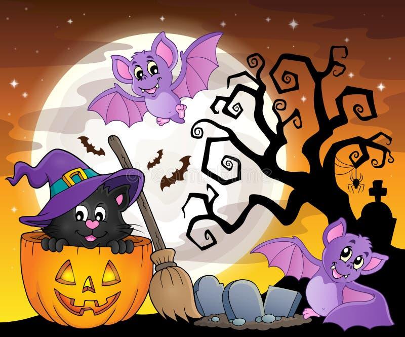 Halloweenowy kota tematu wizerunek 5 ilustracji