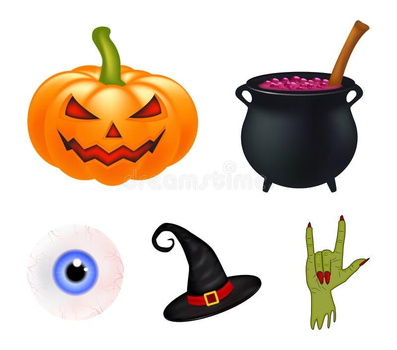 Halloweenowy kreskówka wektoru set, symbole inkasowi set wektorowi przedmioty, banie, czarownica kapeluszowy kocioł i więcej, Wek ilustracja wektor
