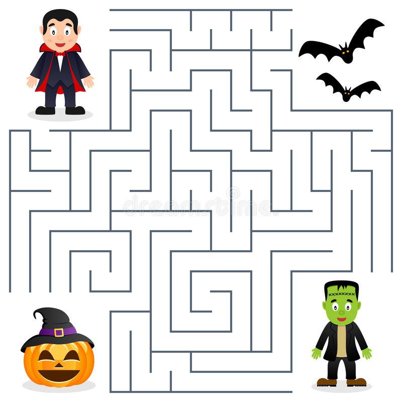 Halloweenowy labirynt - Dracula & Frankenstein ilustracja wektor
