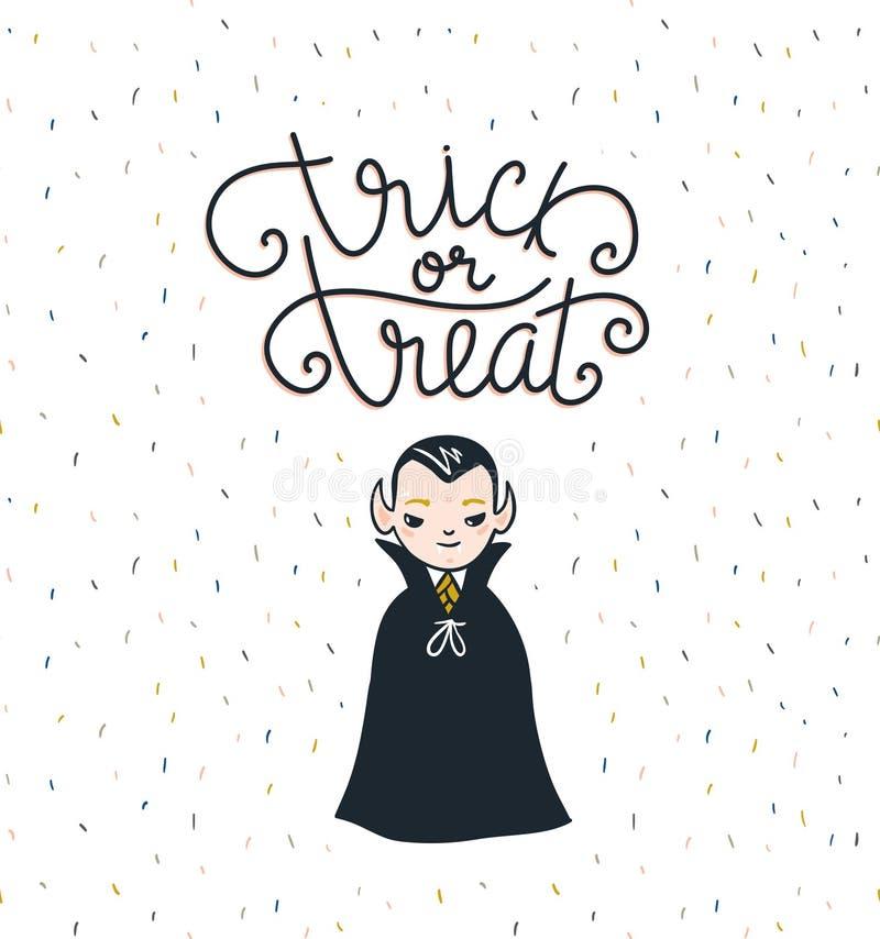 Halloweenowy literowania kartka z pozdrowieniami literowanie - Trikowy lub funda tła wiśni dzień wakacyjny dojrzały s valentine w royalty ilustracja