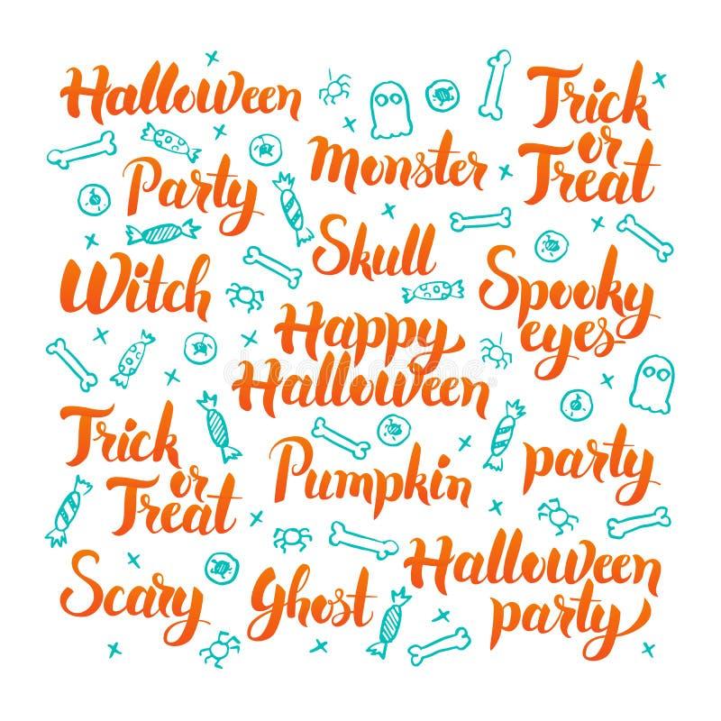 Halloweenowy literowanie set royalty ilustracja