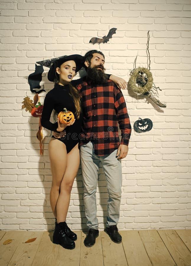 Halloweenowy mężczyzna z brodą w szkockiej kraty koszula fotografia royalty free