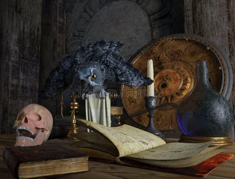 Halloweenowy magiczny życie z czaszką i sową wciąż ilustracja wektor
