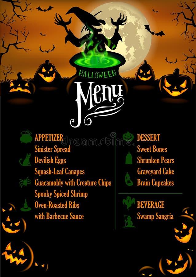 Halloweenowy menu szablon royalty ilustracja
