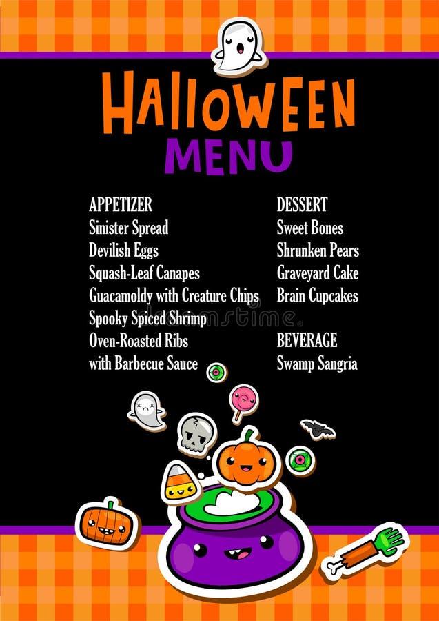 Halloweenowy menu szablon ilustracja wektor