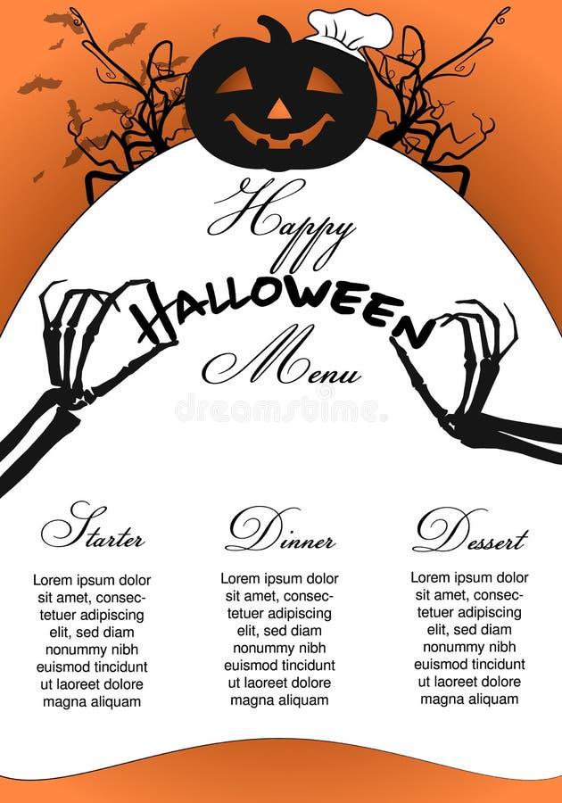 Halloweenowy menu szablon z dyniowymi szefa kuchni i kośca rękami royalty ilustracja