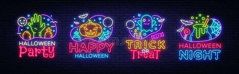 Halloweenowy neonowego znaka kolekci wektor Halloween przyjęcia projekta sieć dla sztandaru i szablon, plakat, kartka z pozdrowie royalty ilustracja