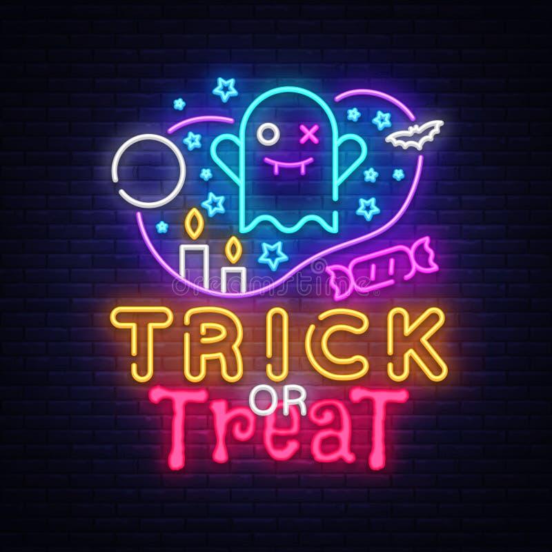 Halloweenowy neonowego znaka wektor Trikowy lub funda Halloweenowy projekta szablon z duchem i sieć dla sztandaru, plakat, powita ilustracji