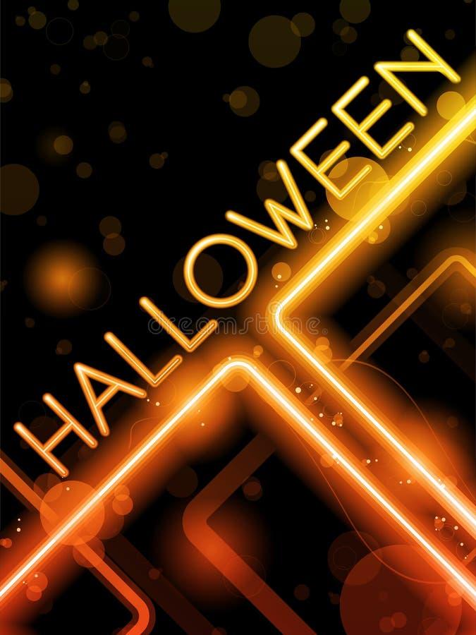 Halloweenowy Neonowy Partyjny tło ilustracja wektor