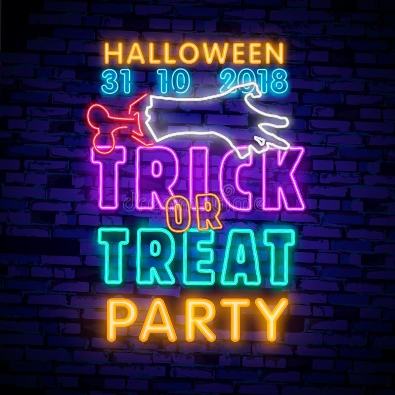 Halloweenowy neonowy znak Trikowy lub funda Halloweenowy projekta szablon z duchem i sieć dla sztandaru, plakat, kartka z pozdrow ilustracja wektor