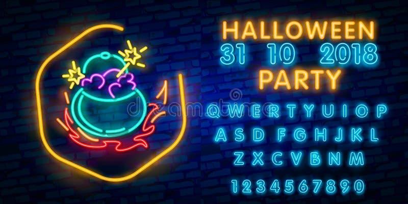 Halloweenowy neonowy znak Trikowy lub funda Halloweenowy projekta szablon z duchem i sieć dla sztandaru, plakat, kartka z pozdrow ilustracji