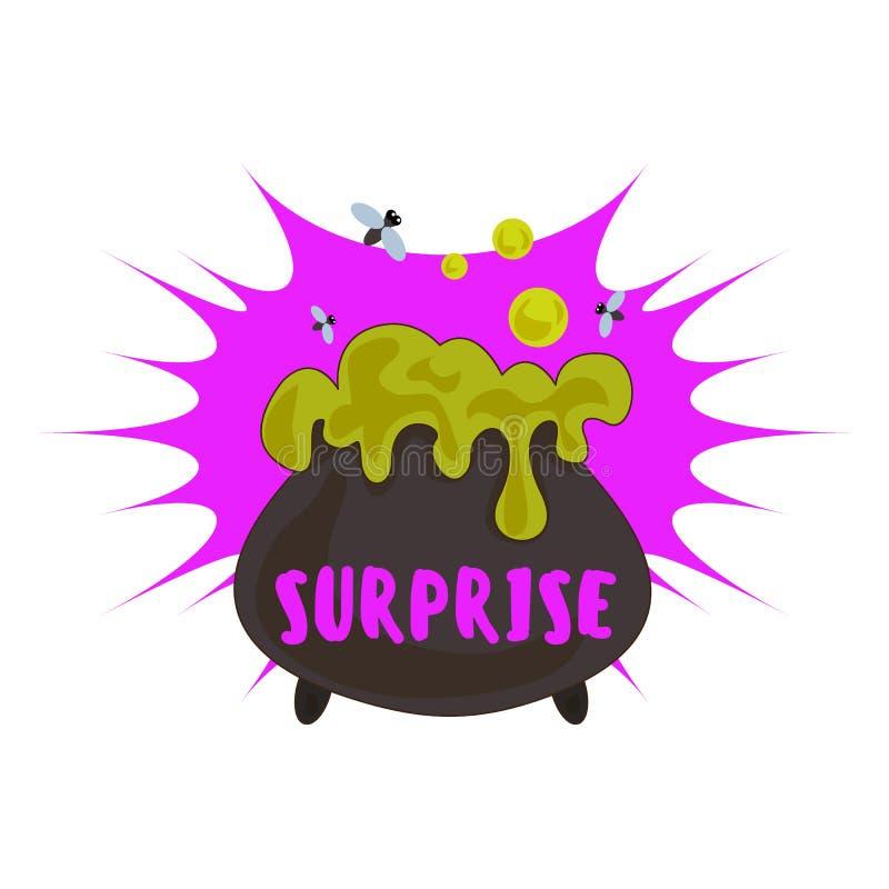 Halloweenowy niespodzianka logo, kreskówka styl ilustracji