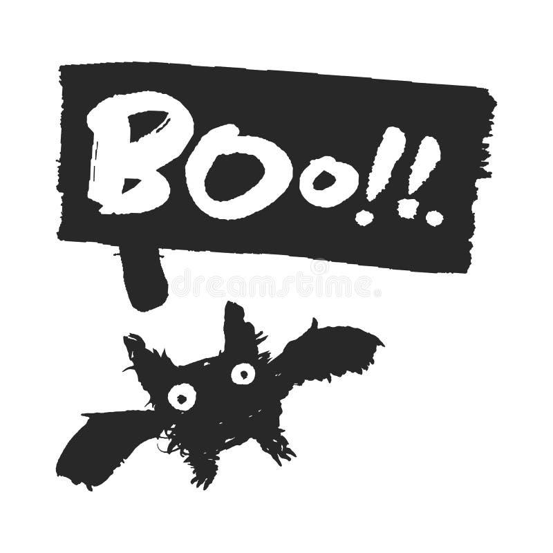 Halloweenowy nietoperz z okrzyki niezadowolenia mowy bąblem royalty ilustracja