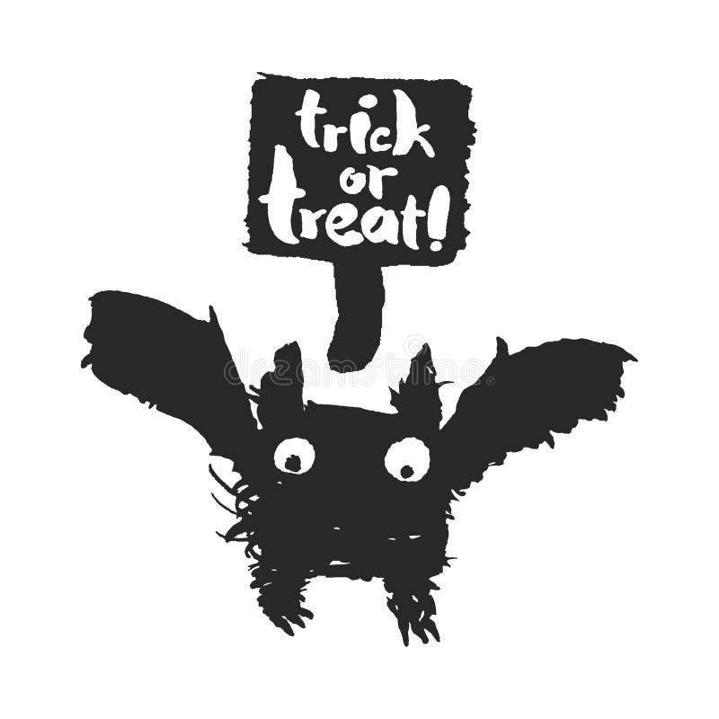 Halloweenowy nietoperz z Trikowego lub fundy mowy bąblem ilustracja wektor