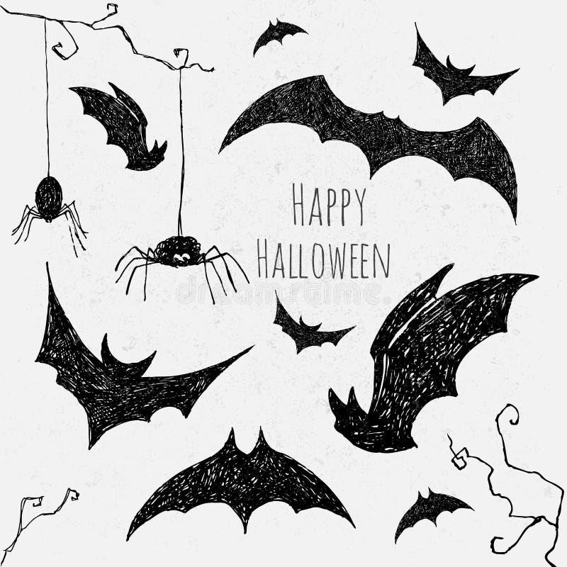 Halloweenowy nietoperza set ilustracji