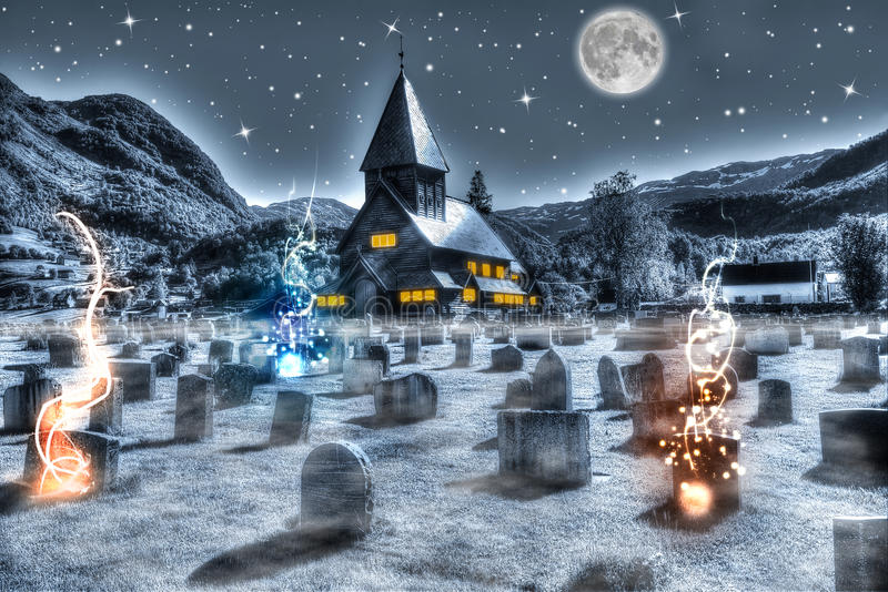 Halloweenowy noc cmentarz