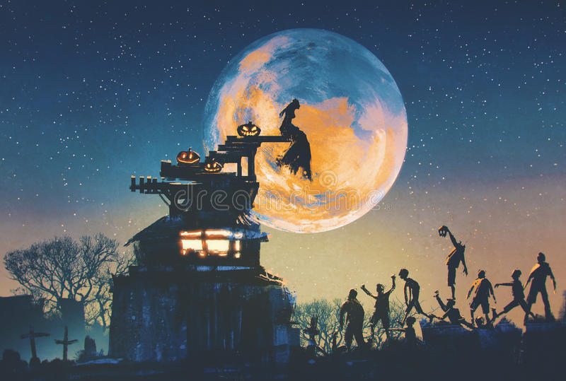 Halloweenowy nocy pojęcie ilustracji
