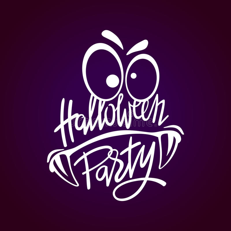 Halloweenowy nocy przyjęcia potwór Ręki literowanie z strasznymi elementami dla Halloween przyjęcia royalty ilustracja