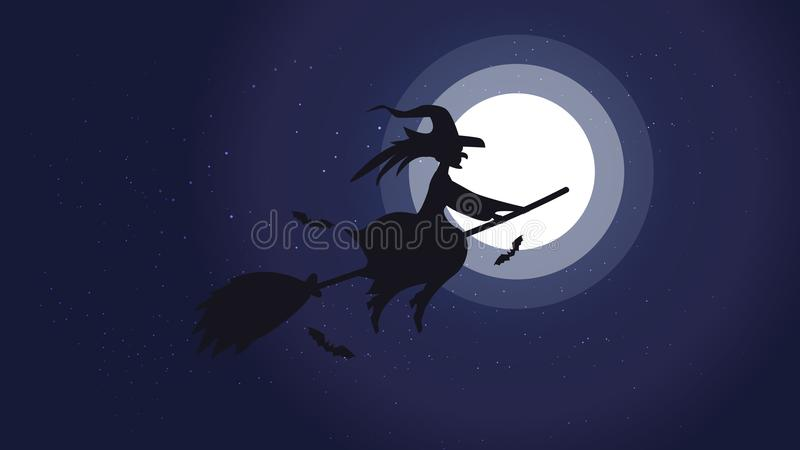 Halloweenowy nocy tła obrazek z latającą czarownicą i nietoperzami , Wektorowi elementy dla sztandaru, kartka z pozdrowieniami Ha ilustracja wektor