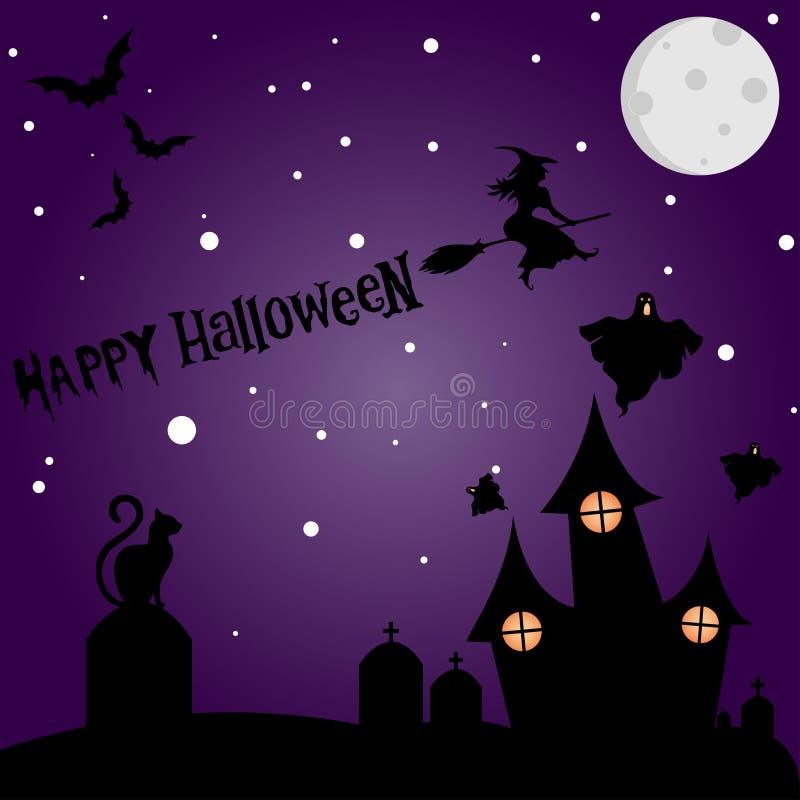 Halloweenowy nocy tła obrazek z przerażającym kasztelem i pumpki ilustracja wektor