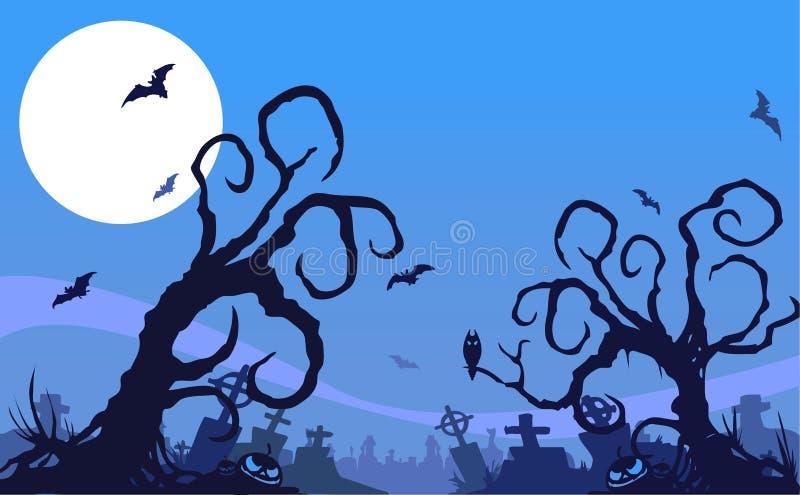 Halloweenowy nocy tło ilustracja wektor