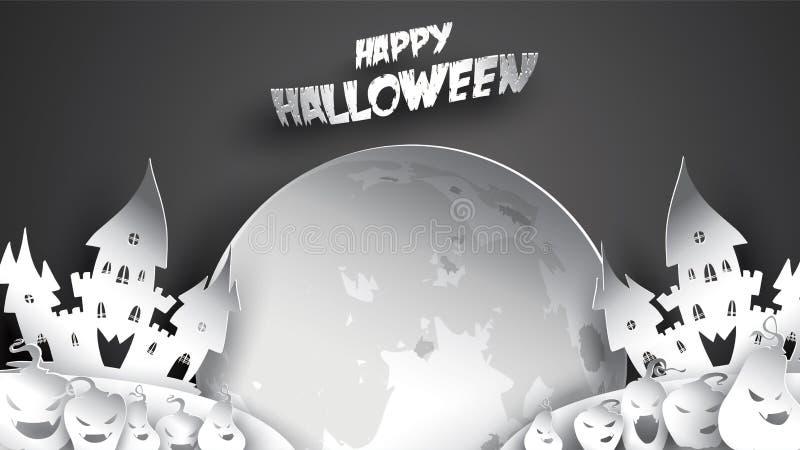 Halloweenowy nocy tło z banią, nawiedzającym domem, kasztelem i księżyc w pełni, Ulotki lub zaproszenia szablon dla sztandaru, pr royalty ilustracja