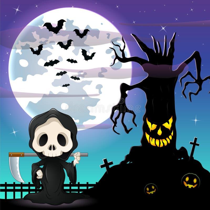 Halloweenowy nocy tło z Ponurą żniwiarką i straszny drzewo wewnątrz stać na czele księżyc w pełni ilustracja wektor