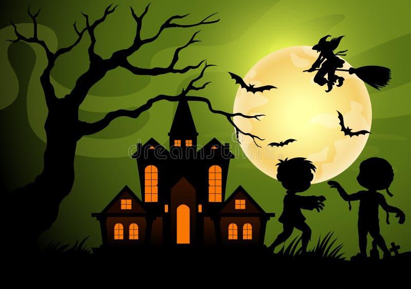Halloweenowy nocy tło z przerażającym kasztelem z mamusi, frankenstein i czarownicy cieniami, ilustracja wektor