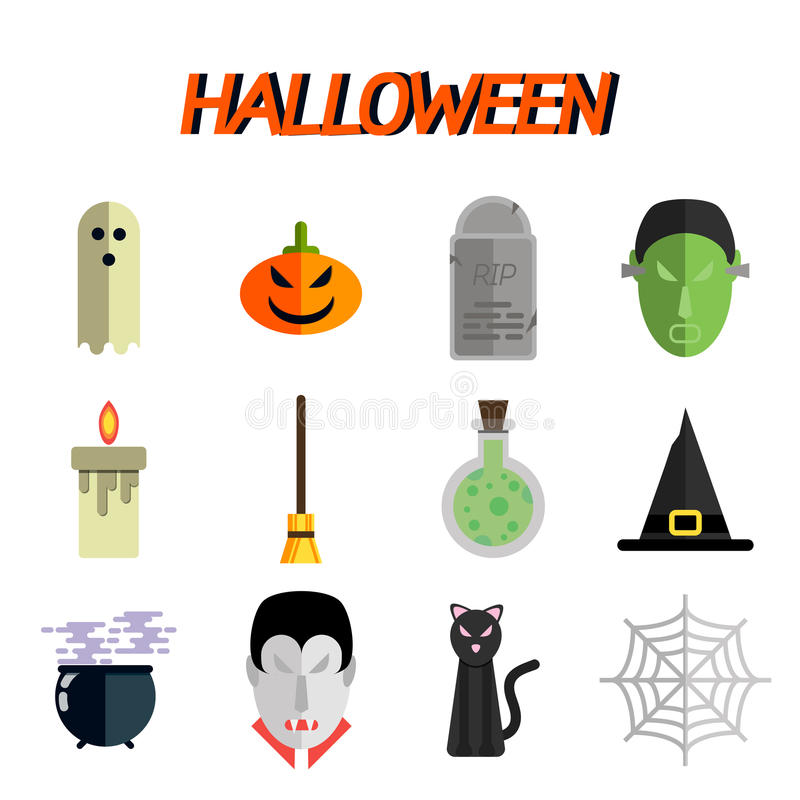 Halloweenowy płaski ikona set ilustracji