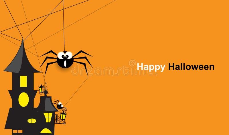 Halloweenowy pająk z abstrakcjonistycznym retro budynkiem royalty ilustracja