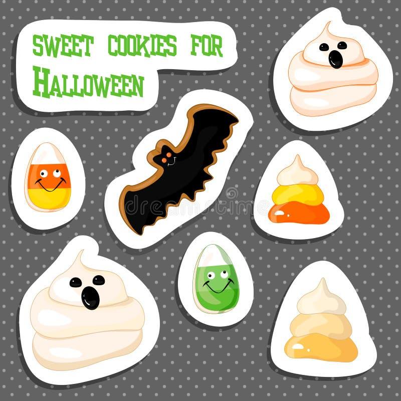 Halloweenowy piernikowy ciastko na bielu ilustracja wektor