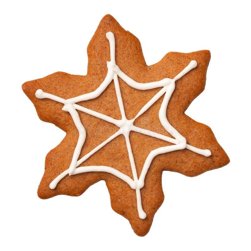 Halloweenowy Piernikowy ciastko Spiderweb Odizolowywający na Białym Backgro zdjęcie royalty free
