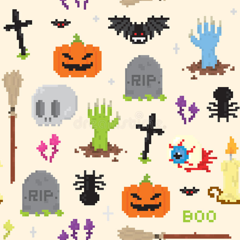 Halloweenowy piksel sztuki wzór royalty ilustracja