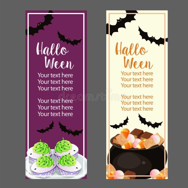 Halloweenowy pionowo sztandar z fundami i deviled jajkami ilustracja wektor