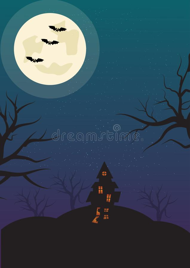 Halloweenowy Pionowo tło z nietoperz Nawiedzającym księżyc w pełni i domem Ulotki lub zaproszenia szablon dla Halloween przyjęcia royalty ilustracja