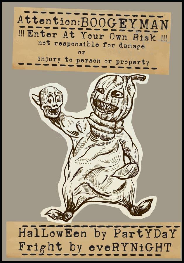 Halloweenowy plakat - ręka rysunki ilustracji