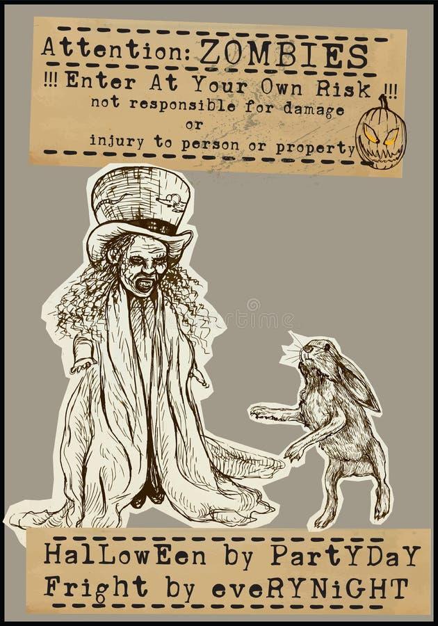Halloweenowy plakat - ręka rysunki ilustracja wektor
