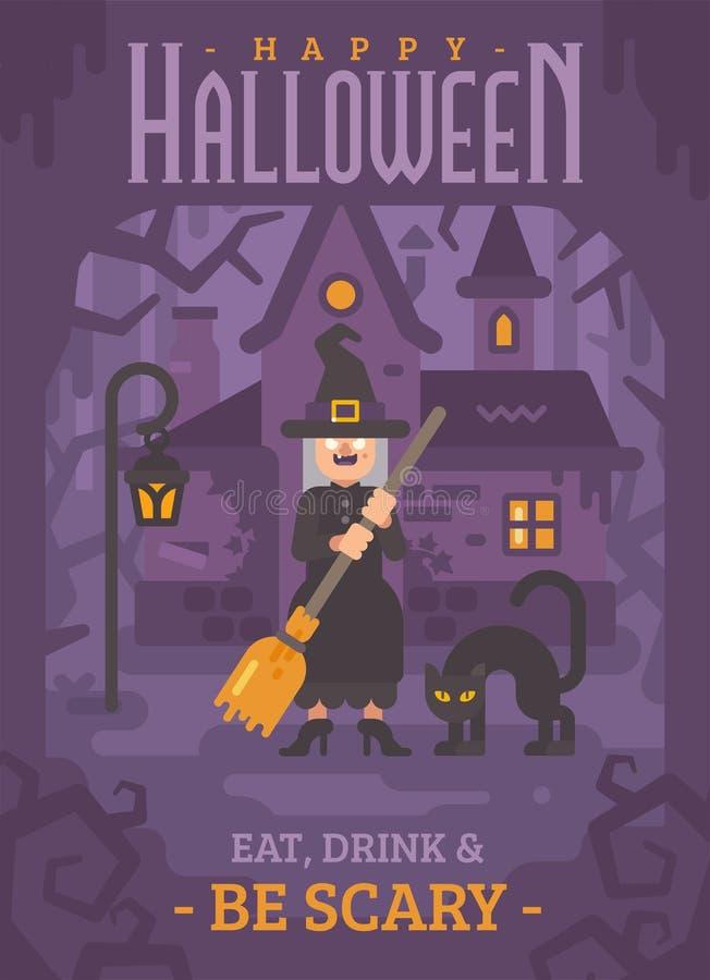 Halloweenowy plakat stara czarownica z miotłą i ilustracji
