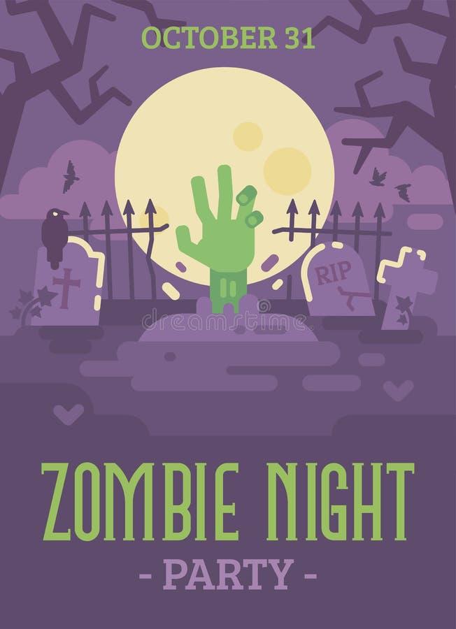 Halloweenowy plakat z żywy trup ręki przybyciem z grób ilustracji