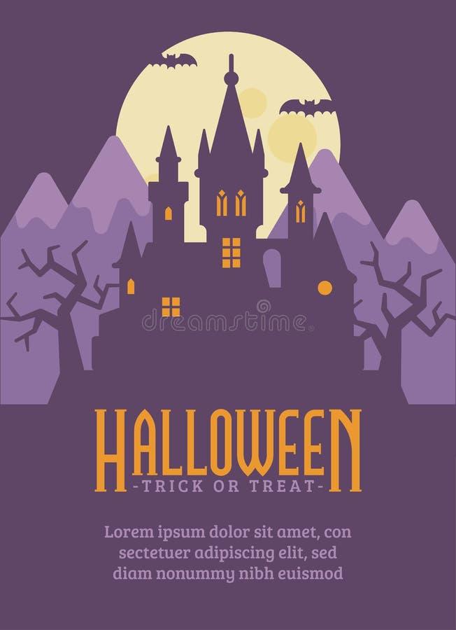 Halloweenowy plakat z ciemnym wampira kasztelem w górach ilustracja wektor