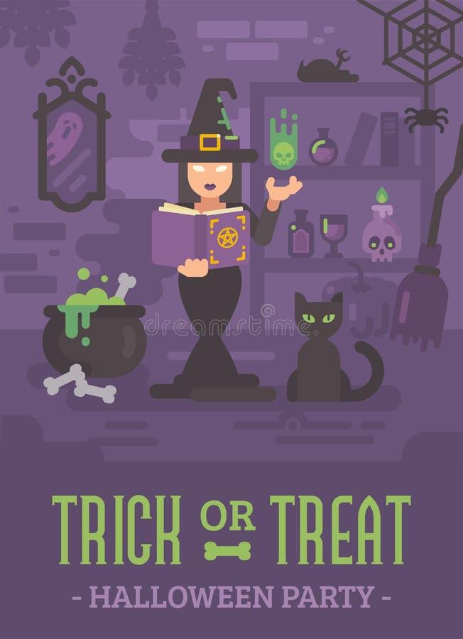 Halloweenowy plakat z czarownicą w jej domowej studiowanie magii royalty ilustracja