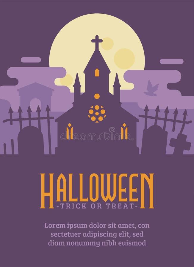 Halloweenowy plakat z gothic cmentarzem i nawiedzającą kaplicą ilustracja wektor