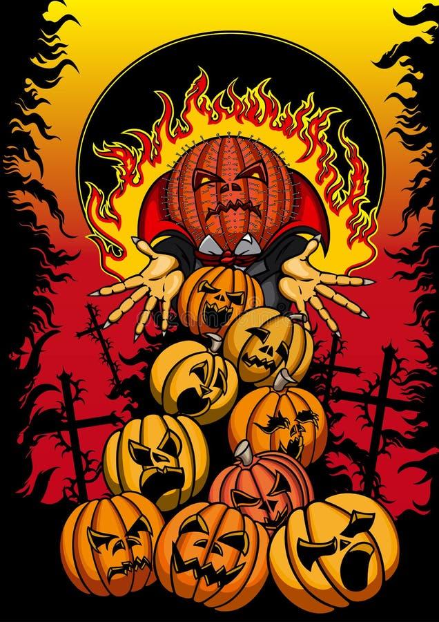 Halloweenowy plakat z Jack i baniami ilustracji