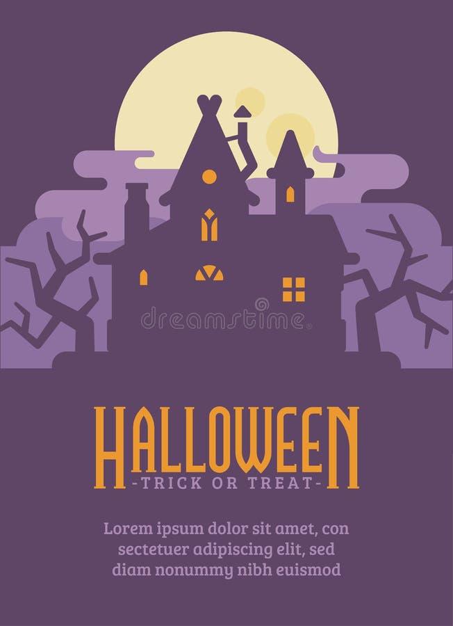 Halloweenowy plakat z starym domem w bagnie Czarownicy budy ulotka ilustracji