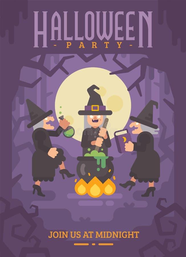 Halloweenowy plakat z trzy nikczemnymi starymi czarownicami warzy napój miłosnego royalty ilustracja