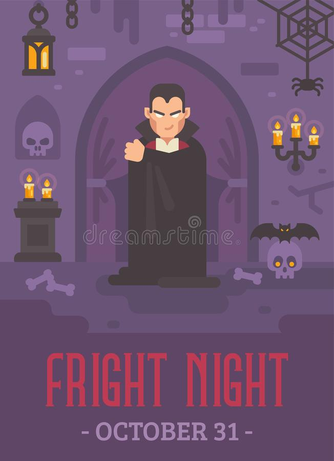 Halloweenowy plakat z wampirem w ciemnym crypt ilustracja wektor
