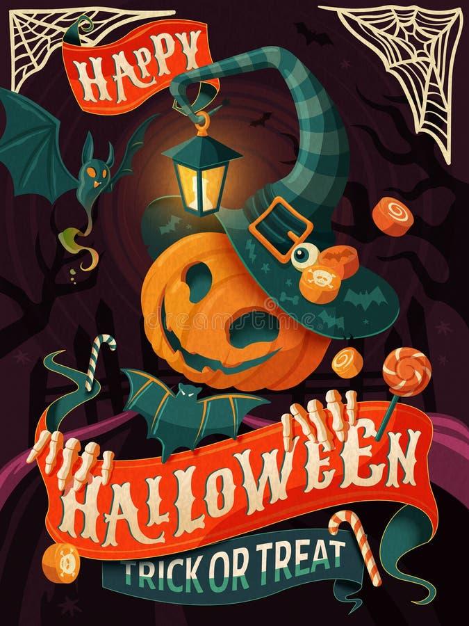 Halloweenowy Plakatowy projekt ilustracji
